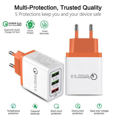 3-Port USB 4A Quick Charge QC 3.0 Home Travel Phone AC Fast Wall Charger Adapter