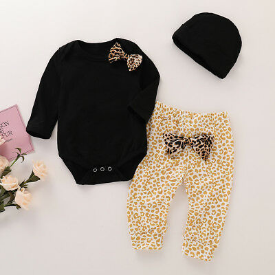 3pcs Toddler Infant Baby Boy Girl Romper Tops+Long Pants+Hat Outfits Clothes Set