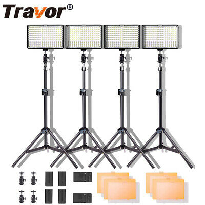 TRAVOR TL-160 Dimmable LED Video Lights Photography Stand Lighting Kits AU STOCK