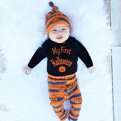 3PCS Newborn Infant Baby Boy Girl Outfits Clothes Set Romper Bodysuit Pants Hat