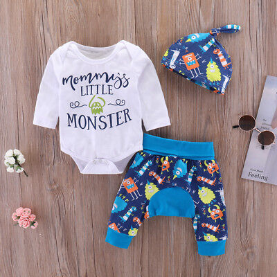Newborn Baby Boys Girls 3pcs Clothes Jumpsuit Rompers Long Pants Hat Outfits Set