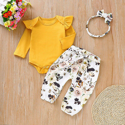 3pcs Newborn Kids Baby Girl Top Romper Floral Pants Headband Outfits Clothes Set