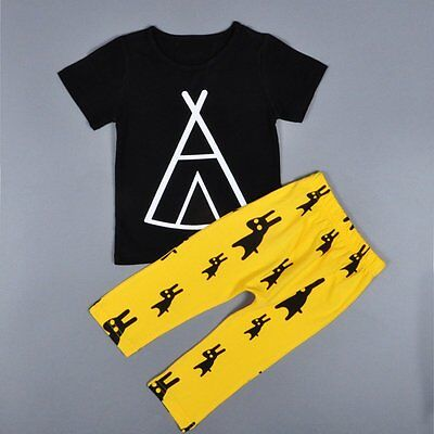 Toddler Infant Kids Baby Boys T-shirt Tops+Pants 2pcs Casual Outfits Clothes Set