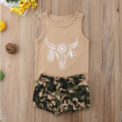 2PCS Toddler Kids Baby Boy Girls Tops Vest Camo Pants Summer Outfits Clothes Set