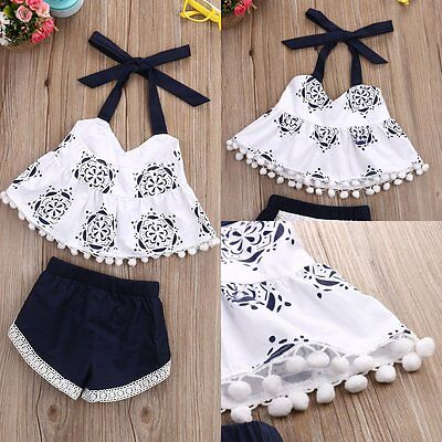 2pcs Newborn Toddler Baby Girl Summer Clothes Tank Tops+Shorts Pants Outfits Set