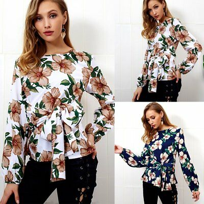 0186922caaab Womens Ladies Summer Casual Tee Tops Blouse Long Sleeve Crew Neck Floral T- Shirt