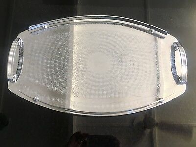 LARGER Vintage Chrome Art Deco Ranleigh Drinks Serving Tray  OVAL