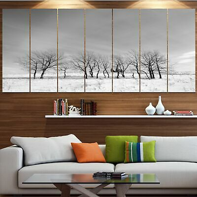 Designart 'Black and White Trees in Winter' Modern Landscape Art - Black