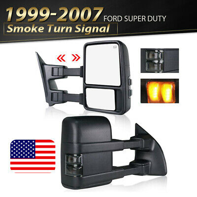 For 99-07 Ford F250 F350 Super Duty Tow Mirror Power Heated SMOKE Turn Signals