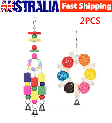 2PCS Parrot Hanging Swing Bird Toy Harness Cage Toys Parakeet Cockatiel Budgie
