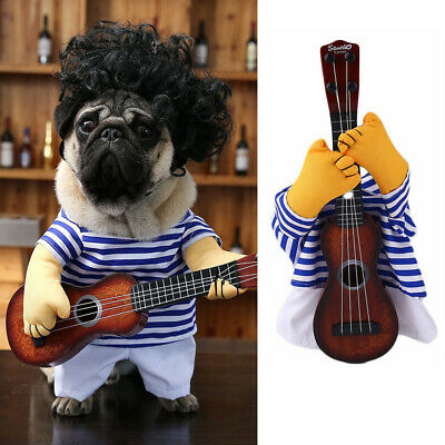 US Seller Funny Pet Guitar Player Dog Costume Dress Up Cosplay Clothes For Dogs