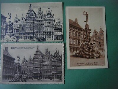 Lot de 4 cartes de ANTWERPEN - Anvers ( Grand'Place et fontaine Brabo )