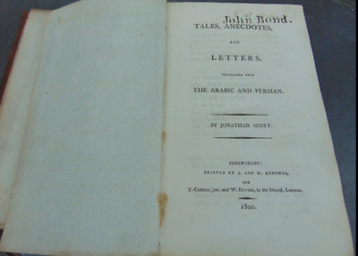ANTIQUE BOOK TALES ANECDOTES & LETTERS TRANSLATED from ARABIC & PERSION J SCOTT