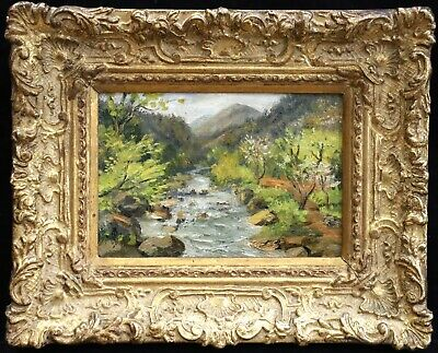 c. 1900 CHINESE JAPANESE IMPRESSIONIST OIL ON CANVAS - LANDSCAPE RIVER - UNUSUAL