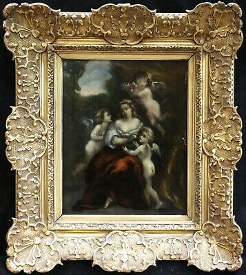 19th CENTURY LARGE FRENCH BARBIZON OIL ON PANEL - PUTTI & MADONNA FOREST - DIAZ