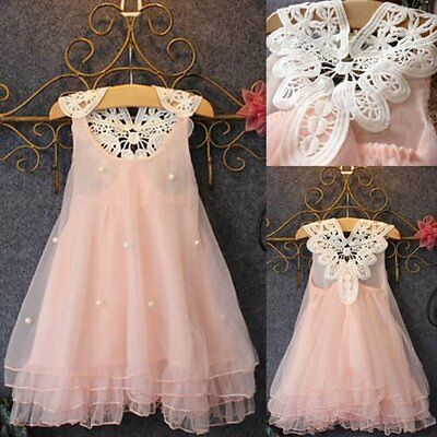 Flower Girl Summer Princess Dress Kid Baby Party Wedding Lace Tulle Tutu Dresses