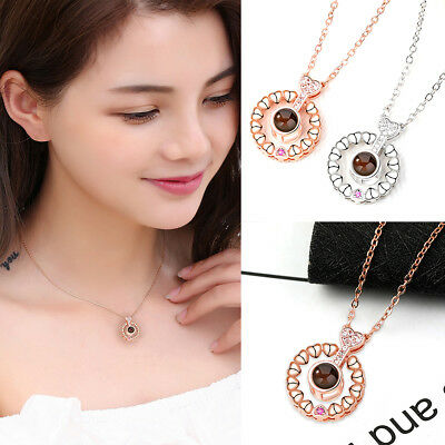 2019 Projection 100 Languages I Love You Charm Pendant Necklace for Wedding Gift