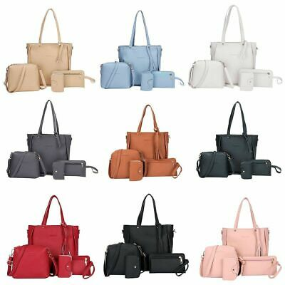 4PCS/Set Women Leather Shoulder Bag Handbag Hobo Tote Satchel Clutch Coin Purse