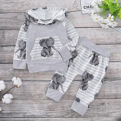 2PCS Newborn Infant Baby Boys Girls Hooded Tops+Pants Autumn Clothes Outfits Set