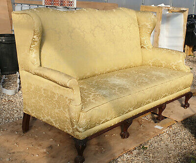 Fabulous Antique Sofa Gold Brocade - Recovered And Padded Few Years Ago
