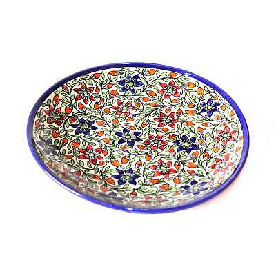 Khurja Pottery Home Decor Handmade Flower Design Ceramic Serving Plate/ Platter
