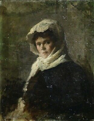 19th CENTURY FINE FRENCH IMPRESSIONIST OIL - PORTRAIT LADY IN FOREST - UNUSUAL