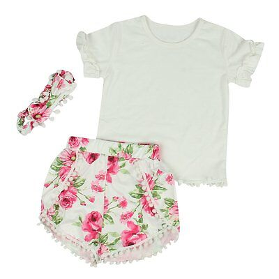 Toddler Kids Baby Girls Summer Outfit Clothes T-shirt Tops+Pants Shorts 3PCS Set