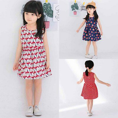Toddler Kids Baby Girls Summer Casual Flower Dress Party Pageant Dresses Clothes