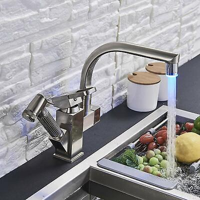 LED Single Handle Kitchen Sink Faucet Pull Out Sprayer Brushed Nickel Mixer Tap