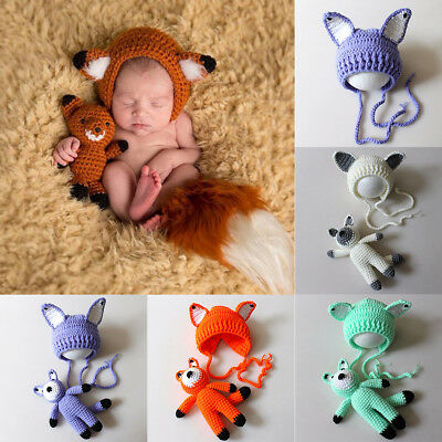 Newborn Baby Girl Boy Photography Prop Photo Crochet Knit Costume Fox Doll + Hat