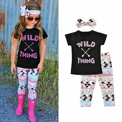 3PCS Toddler Kids Baby Girls T-shirt Tops+Pants Summer Beach Outfits Clothes Set