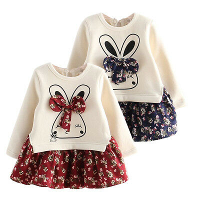 Toddler Kids Baby Girls Outfits Clothes Sweater Coat Tops+Floral Skirt Dress Set