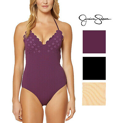 c1190cae7a6 Jessica Simpson Womens Under the Sea Scalloped-Edge Textured One-Piece  Swimsuit