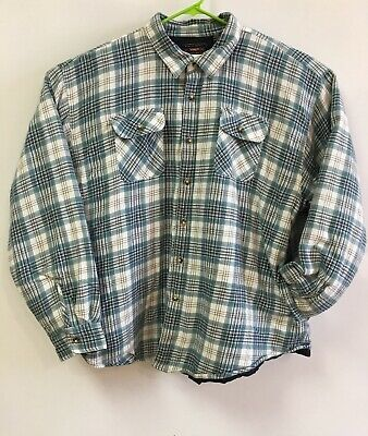 Wrangler Blue Plaid Flannel Shirt Jacket With Quilted Lining Mens