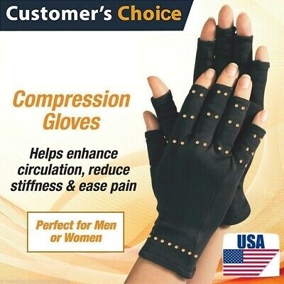 Copper Hands Arthritis Gloves Therapeutic Compression Brace Magnetic Joints USA