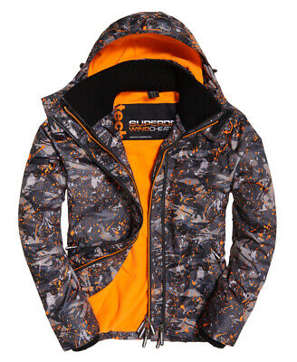 New Mens Superdry Pop Zip Print Hooded Arctic SD-Windcheater Jacket Mono Camo Sp