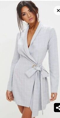 a409ba10ee8c PRETTY LITTLE THING Grey Checked Blazer Dress Size 8 - £17.50 ...