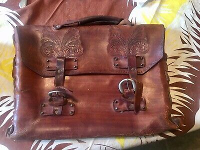Very Rare Antique Hand Tooled Leather High Style Manuscript Bag Just From Attic