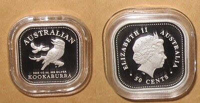 "2003 AUSTRALIA $50C KOOKABURRA 1/2 OZ SQUARE PROOF SILVER coin With COA & BOX ""R"