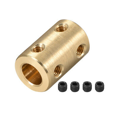 Shaft Coupling 8mm to 8mm Bore L22xD14 Robot Motor Wheel Rigid Coupler Gold Tone