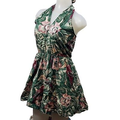 e09a8c96088 VTG 40s 50s Muted Tropical Halter Romper Playsuit Small Medium Indonesia  Jungle