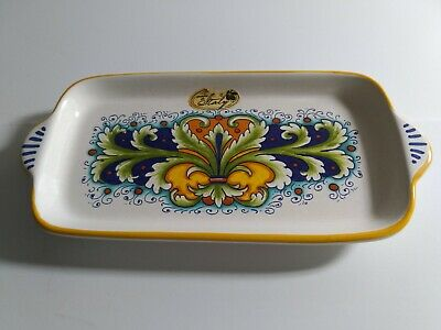 Nova Deruta Made In Italy Rectangular Dish Plate Pickle Bread Cheese