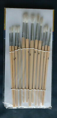 12Pc Assorted Numbered Paint Brush Set Craft Painting Activity School Brushes