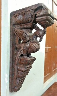 Wall Peacock Corbel Wooden Bird Bracket Vintage Sculpture Statue Estate Decor UK
