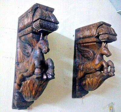 Wall Hanging Wooden Bracket Horse Sculpted Corbel Pair Statue Home Decor Handmad
