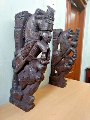 Wall Corbel Pair Wooden Horse Sculpture Bracket Gargoyle Statue Home Art Decor
