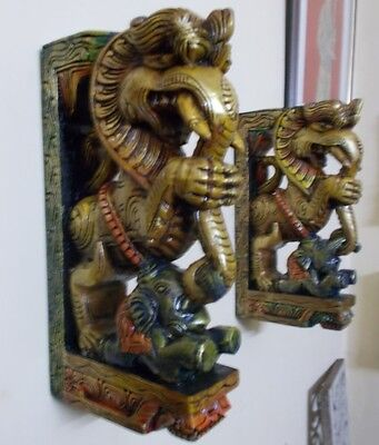 Wooden Bracket Hindu Temple Corbel Yalli Pair Architectural Dragon Statue Figure