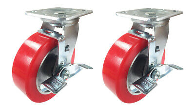 "2 Heavy Duty Caster Set 6""8"" Aluminum on Plastic Rigid Swivel Brake Total Lock"