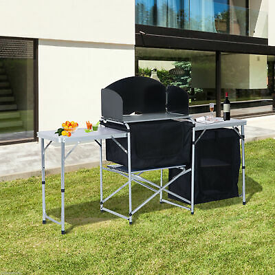Camping Kitchen Table Picnic Cabinet Folding w/ Wild Board Cooking