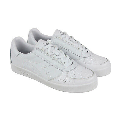 Diadora B.Elite Mens White Leather Low Top Lace Up Sneakers Shoes